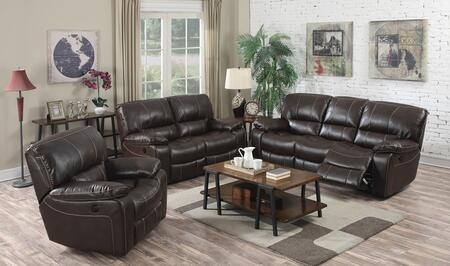 Kimberly 52135SLC 3 PC Living Room Set with Sofa + Loveseat + Chair in Brown