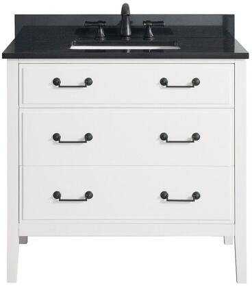 DELANO-VS36-WT-A Delano Collection 36' Vanity Combo with Solid Polar Wood Frame  Black Bronze Finish Hardware  Soft-Close Drawers and Adjustable Height