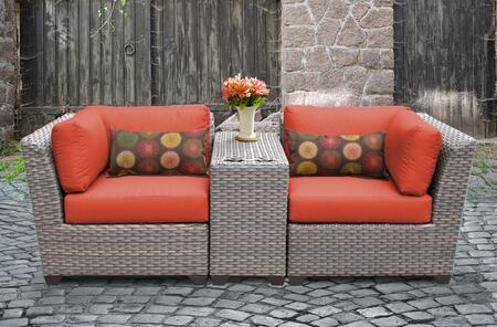 FLORENCE-03b-TANGERINE Florence 3 Piece Outdoor Wicker Patio Furniture Set 03b with 2 Covers: Grey and