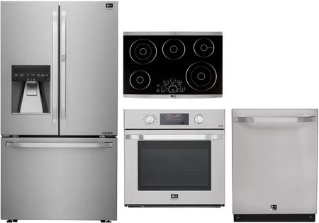 4-Piece Stainless Steel Kitchen Package with LSFXC2476S 36 inch  French Door Refrigerator  LSWS306ST 30 inch  Single Wall Oven  LSCE305ST 30 inch  Electric Cooktop and