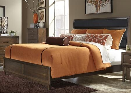 Hudson Square Collection 365-BR-KUB King Upholstered Bed with Black Linen Upholstered Headboard  Tapered Legs and Center Support Slat System in Espresso