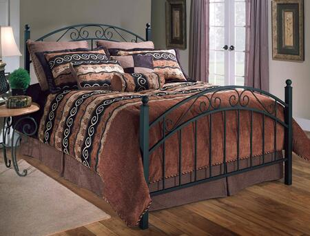 Willow Collection 1141BQR Queen Size Poster Bed with Headboard  Footboard  Rails  Decorative Metal Scrollwork  Round Finials and Open-Frame Panel Design in