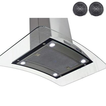 GIR0930 30 inch  Island Mount Range Hood with 870 CFM  65 dB  Innovative Touch  2W LED Lighting  3 Fan Speed  Aluminum Grease Filter and Ductless: Stainless