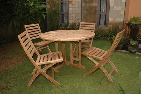 Set-35 5-piece Dining Set With Butterfly 47 Round Folding Table And 4 Andrew Folding