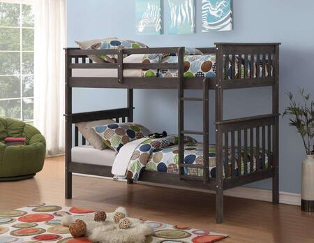 120-3BG/TT Twin Over Twin Mission Bunk Bed with Built in Ladder  Slat Headboard and Footboard in Brushed