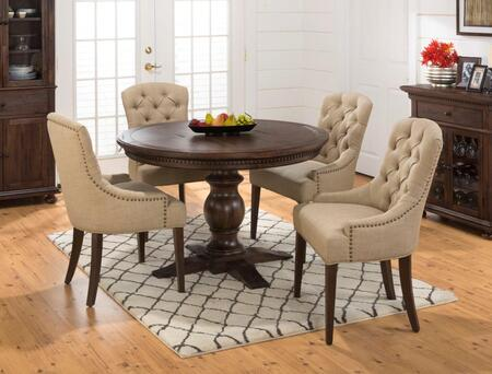 678-60tbktset2 Geneva Hills Round To Oval Pedestal Dining Table With 4 Tufted Side