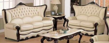 988IVORYS2SET Traditional 2 Piece Livingroom Set  Sofa and Loveseat in Ivory with Mahogany Wood