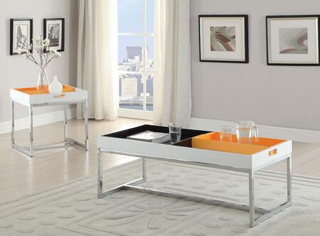 Maisie 80435CET 2 PC Living Room Table Set with Coffee Table + End Table in White