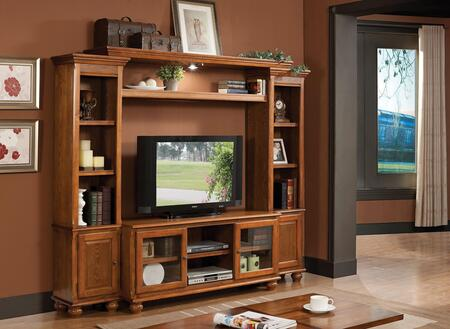 Dita 91095ENT 94 inch  4-Piece Entertainment Center with TV Stand  Left Pier  Right Pier and Bridge with Shelf and Lighting on Top in Light Oak