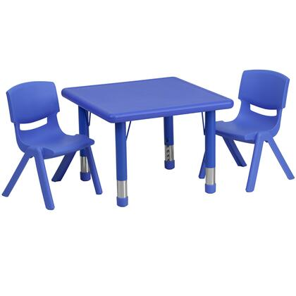 YU-YCX-0023-2-SQR-TBL-BLUE-R-GG 24'' Square Adjustable Blue Plastic Activity Table Set with 2 School Stack