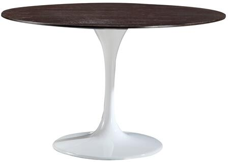 Daisy Collection Em-213-whi 48 Dining Table With Round Walnut Top  Mid-century Design  Lacquered Chip Resistant And Fiberglass Base In White