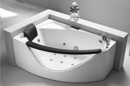 AM198-R Right 5'Rounded Corner Whirlpool Bath Tub with Acrylic  1 Person Capacity  Chromotherapy  Tempered Glass Panel  Ozone Disinfection Function  1.2 HP