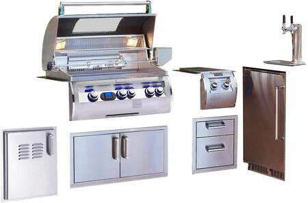 Grill Package with E660I4E1NW Natural Gas Grill  32814 Double Side Burner  53802SC Double Drawer  53934SC Double Door  53820SCTL Single Access Door with
