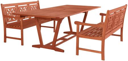 Malibu Collection V232SET48 3 PC Outdoor Patio Dining Set with 2 Benches  Rectangular Shaped Table  Umbrella Hole  Rustic Style and Eucalyptus Solid Wood