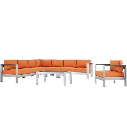 Shore Collection Eei-2562-slv-ora 7 Pc Outdoor Patio Sectional Sofa Set With All-weather Canvas Cushions  Anodized Aluminum Frame  Non-marking Foot Caps And