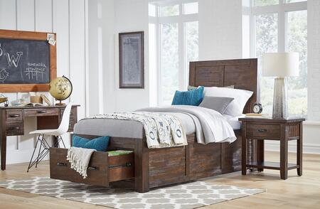Jackson Lodge Youth Collection 1605TPBDN 3-Piece Bedroom Set with Twin Storage Bed  Desk and Nightstand in