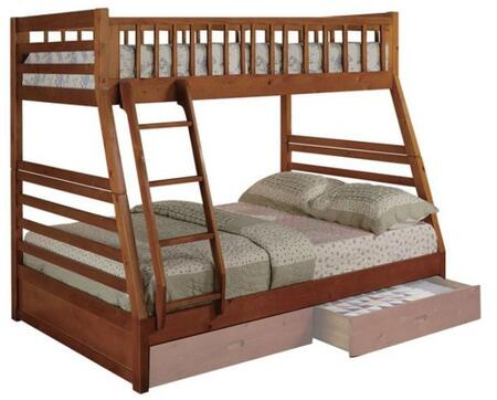 Boise Collection Twin Over Full Size Bunk Bed with Ladder Included  Solid Hardwood Construction and Wood Veneer Material in Oak
