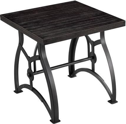 DS-D080 Tiburon Wood & Metal End Table with Metal Rivet Detailing on Base  Hexagonal Bolt Accented Stretcher and Wire Brushed Birch Veneers in Lightly