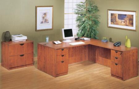 KIT2N101C Desk Shell Complete with Reversible Return  Pedestal Box File  and 2 Drawer Lateral File in Cherry