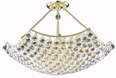 V9802D30G/EC 9802 Corona Collection Chandelier D:30In H:18In Lt:8 Gold Finish (Elegant Cut