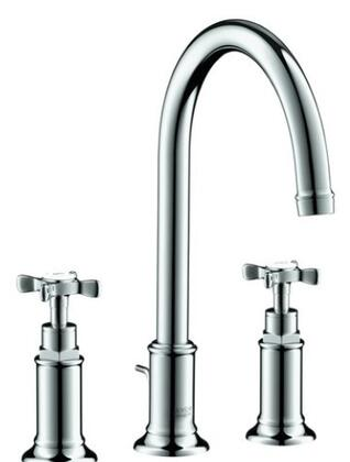 16513831 Axor Montreux Bathroom Faucet Widespread High Arc with Metal Cross Handles and Pop Up Drain: Polished