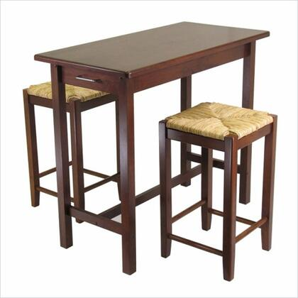 94374 3pc Kitchen Island Table with 2 Rush Seat Stools  Antique