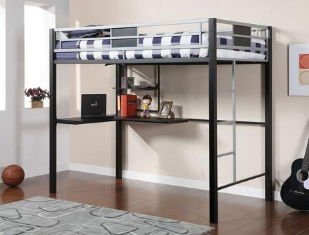 Clifton Collection CM-BK1027 Full Size Bed with Workstation  Simple Lines and Full Metal Construction in Silver and Black