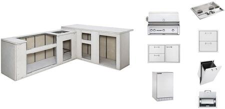 L6000NG Sedona Series Ready to Finish Island Package with L600NG 36 inch  Sedona Grill  Door Drawer  Double Side Burner  Trash Center  Paper Towel Dispenser  Double