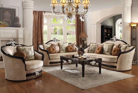 Ernestine Collection 521105SET 5 PC Living Room Set with Sofa + Loveseat + Chair + Cofee Table + End Table in Tan and Black