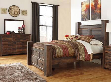 Quinden Queen Bedroom Set With Poster Storage Bed  Dresser And Mirror In Dark Brown