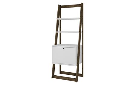 """Salvador Collection 132AMC143 25"""" Ladder Bookcase with 2 Display Shelves and 1 Cubby in White and Dark"""