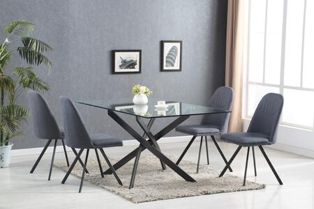 LH-205/LH-402-DG 5-Piece Dining Room Set with Glass Table and 4 Dark Grey Fabric