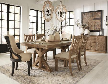Grindleburg Collection D754-125-4SC05-2AC06A-B 8-Piece Dining Room Set with Rectangular Dining Table  4 Side Chairs  2 Arm Chairs and Server in Light Brown