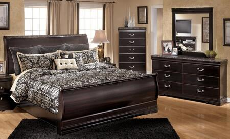 Esmarelda King Bedroom Set With Sleigh Bed  Dresser And Mirror In Dark