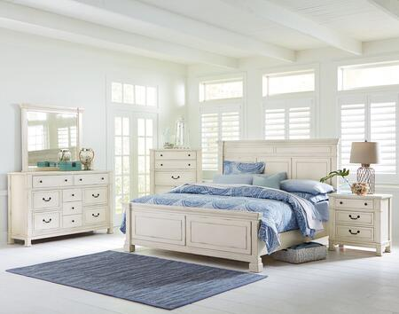 Chesapeake Bay Collection 6-Piece Queen Bedroom Set with Panel Bed  Dresser  Mirror  2x Nightstands and Chest in Vintage