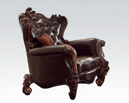 52122 Versailles Living Room Chair with 2 Pillows  Loose Reversible Seat Cushion  Button Tufted Back and Dark Brown PU Leather Upholstery in Cherry
