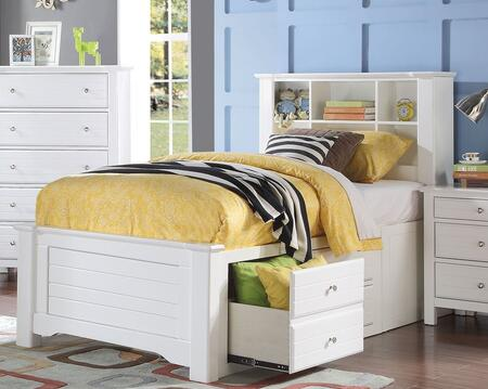 Mallowsea Collection 30415F Full Size Bed with Storage Rail Drawers  6 Compartment Bookcase Headboard  Low Profile Footboard and Pine Wood Construction in