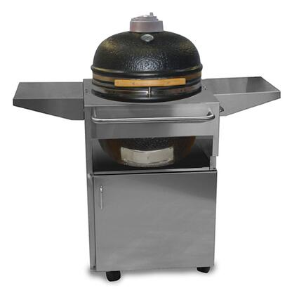 Kamado SOLOBRAVO Bravo Charcoal Smoker Grill on Stainless Steel Cart with Hinged 304 Stainless Steel Cooking Grid and Cast Aluminum Dual Action Top Vent in