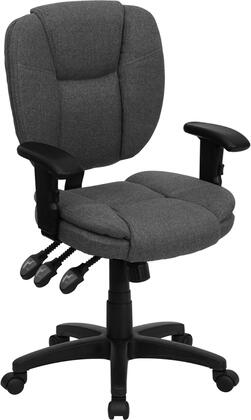 GO-930F-GY-ARMS-GG Mid-Back Gray Fabric Multi-Functional Ergonomic Task Chair with