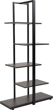 Homewood Collection NAN-JN-21706B-GG 31 inch  5-Tier Decorative Shelf with 5 Shelves  Adjustable Floor Glides  Black Powder Coated Frame and Wood Grain Laminate