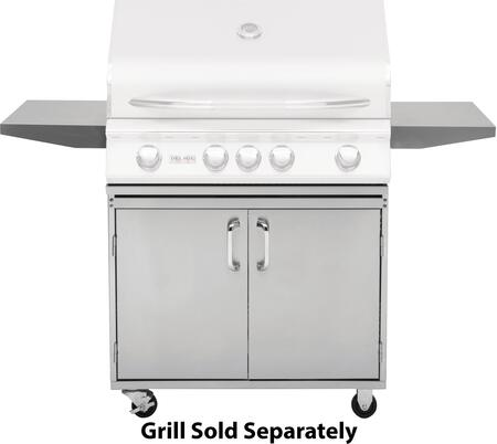 DSGB32 32 inch  Grill Base with Fixed Side Shelves  2 Access Doors  Two Locking Swivel Casters and Two Stationary Casters  in Stainless