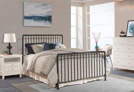 Brandi 2124BQ Queen Headboard and Footboard Set with Simple Spindle Design and 2 Panels Constructed with Metal in Navy