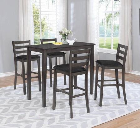 180162-S5 5-Piece Bar Table Set with Rectangular Bar Table and 4 Bar Stools in Warm