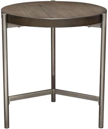 "Atwood_Collection_ATWOODETGRSL_22""_End_Table_with_Round_Shape__Wood_Veneer_Top_and_Metal_Legs_in_Brushed_Silver_and_Grey_Oak"
