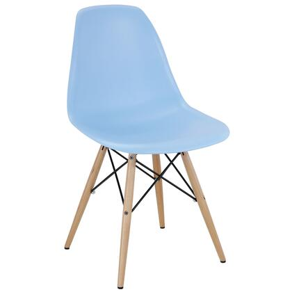 Pyramid Collection EEI-180-LBU Dining Side Chair with Non-Marking Feet  Solid Beech Wood Tapered Legs  Acrylonitrile Butadiene Styrene (ABS) Plastic Seat and