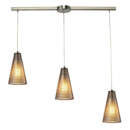 Elk Lighting 10333/3L Ribbed Glass Collection 3 light chandelier in Satin Nickel (Shipping Included) 10333/3L