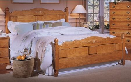 Carolina Oak 237850-3-971500 63 inch  Full Sized Bed with Panel Headboard  Footboard and Metal Slat-less Rails in Golden
