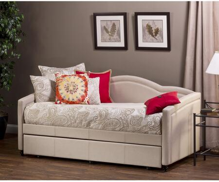 Jasmine Collection 1119DBT Twin Size Daybed with Trundle Included  Turned Legs  Fabric Upholstery and Sturdy Wood Construction in Linen