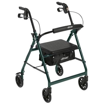 r726gr Walker Rollator With 6 Wheels  Fold Up Removable Back Support And Padded Seat