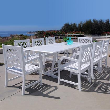 V1334SET14 Bradley Outdoor 9-Piece Wood Patio Dining Set With Extension Table In